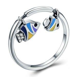 925 Silver Enamel Fish Dangle Ring Jewelry